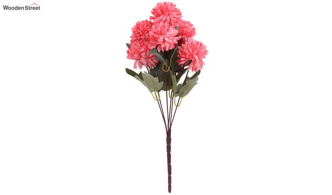 Peach Chrysanthus Flower Bunch With Pot (Set Of 4)-3