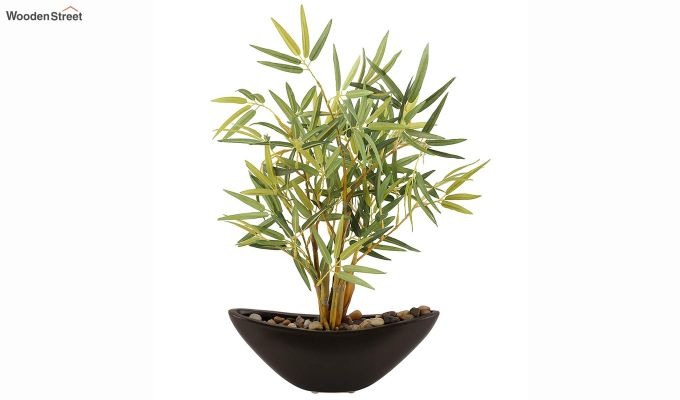 Green And Brown Plastic And Ceramic Artificial Small Bamboo Plant-2