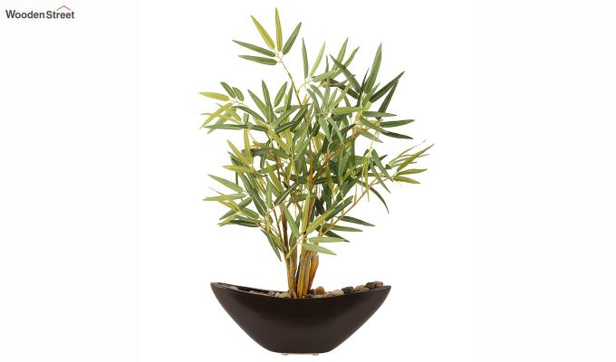 Green And Brown Plastic And Ceramic Artificial Small Bamboo Plant-3
