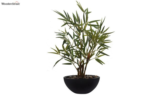 Green Polyester Bamboo Plant In Ceramic Pot-2