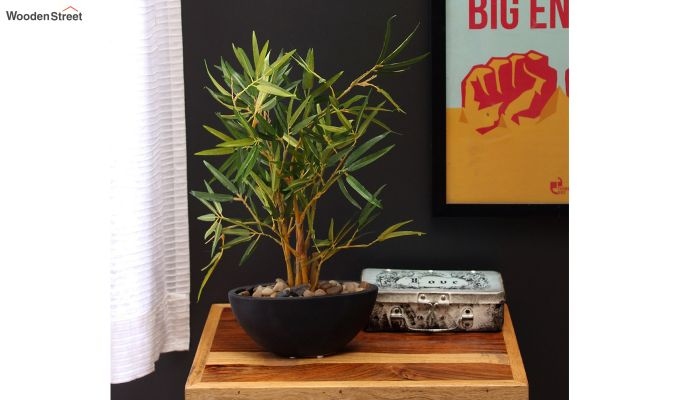 Green Polyester Bamboo Plant In Ceramic Pot-1