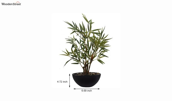 Green Polyester Bamboo Plant In Ceramic Pot-3