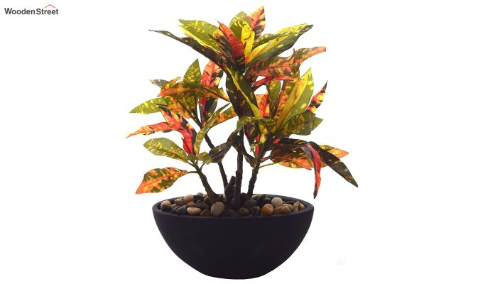 Red Polyester Croton Bonsai with Ceramic Pot-2