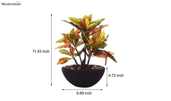 Red Polyester Croton Bonsai with Ceramic Pot-3