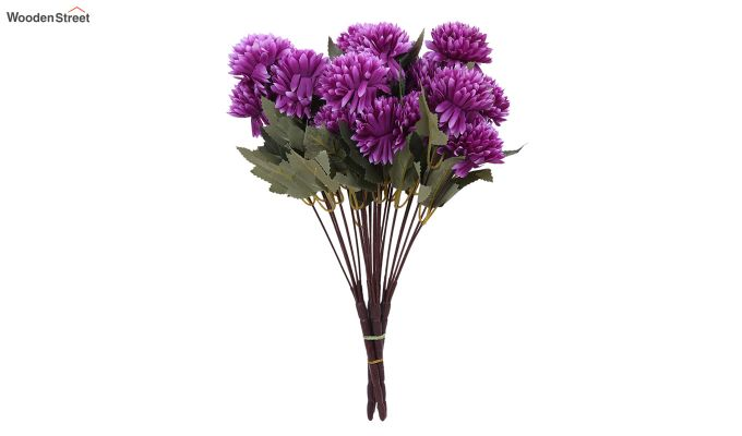 Purple Chrysanthus Flower Bunch With Pot (Set Of 4)-2