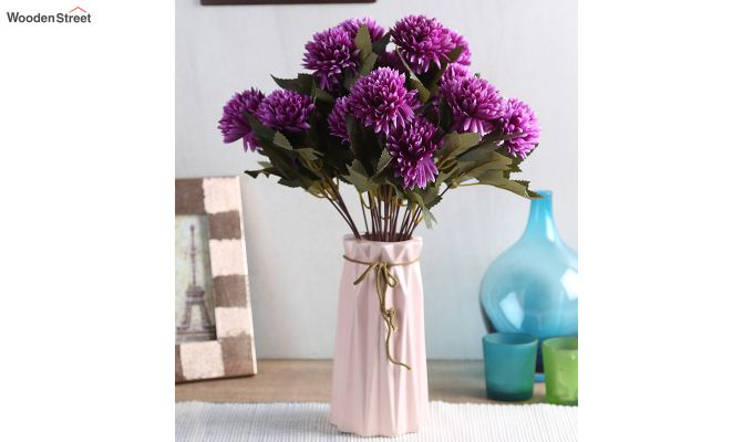 Purple Chrysanthus Flower Bunch With Pot (Set Of 4)-1