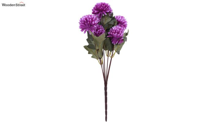 Purple Chrysanthus Flower Bunch With Pot (Set Of 4)-3