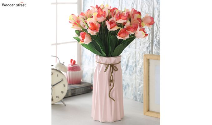 Rosy Canna Flower Bunch With Pot (Set Of 5)-1