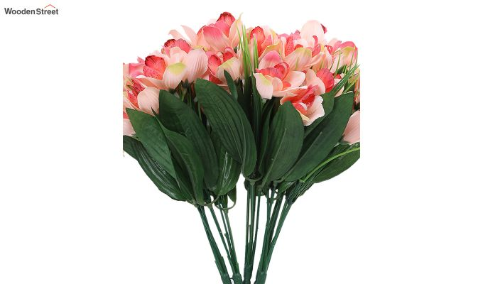 Rosy Canna Flower Bunch With Pot (Set Of 5)-4
