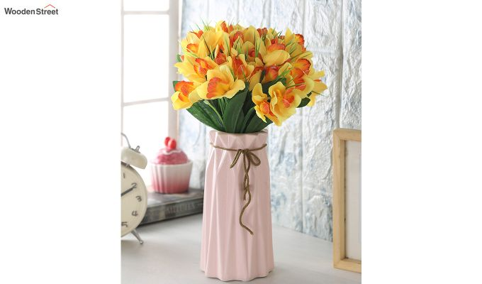 Yellow Canna Flower Bunch With Pot (Set Of 5)-1