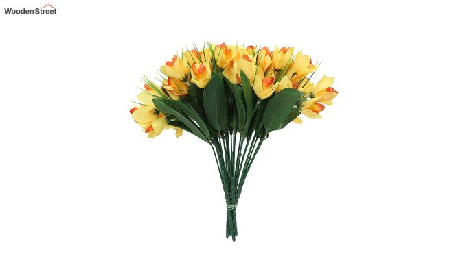 Yellow Canna Flower Bunch With Pot (Set Of 5)-3