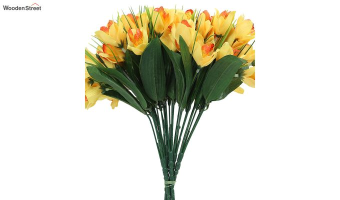 Yellow Canna Flower Bunch With Pot (Set Of 5)-4