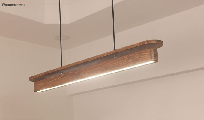 Art Deco Brown Wooden LED Hanging Lamp-3