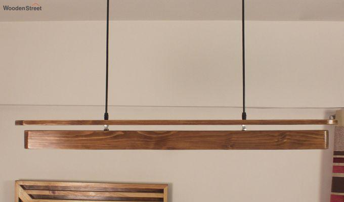 Art Deco Brown Wooden LED Hanging Lamp-4