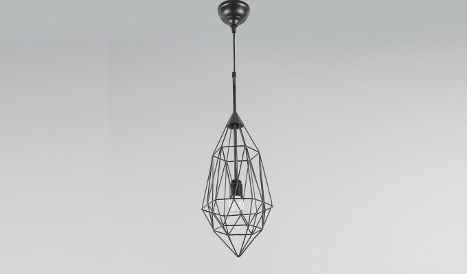 Black Birdcage Hanging Light by Grated Ginger-2