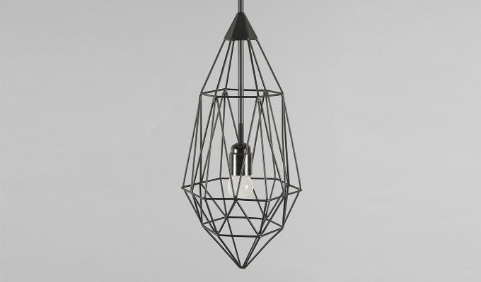 Black Birdcage Hanging Light by Grated Ginger-3