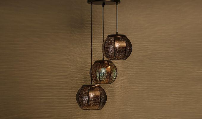 Classic Moroccan Copper Pendant Hanging Light-1