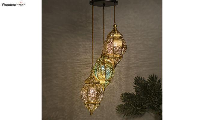 Classic Moroccan Nargis Gold Hanging Pendant Light-1