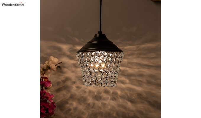 Crystal Matt Black Hanging Light-1