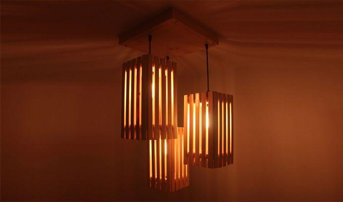 Elegant Beige Wooden Cluster Hanging Lamp-2
