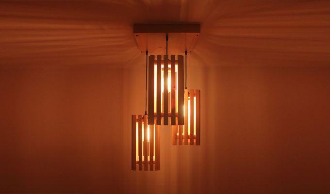 Elegant Beige Wooden Cluster Hanging Lamp-3