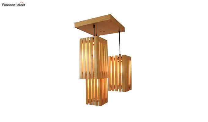 Elegant Beige Wooden Cluster Hanging Lamp-4