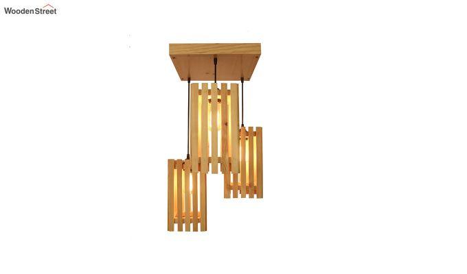 Elegant Beige Wooden Cluster Hanging Lamp-5