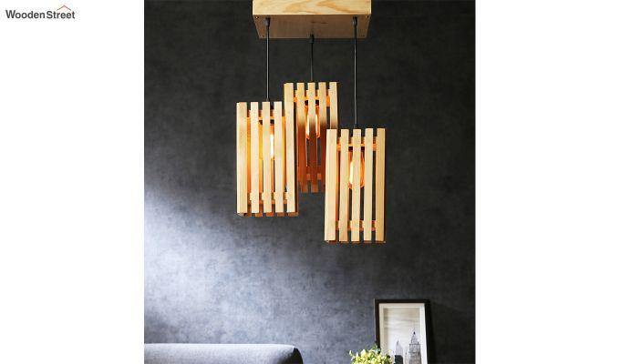 Elegant Beige Wooden Cluster Hanging Lamp-1