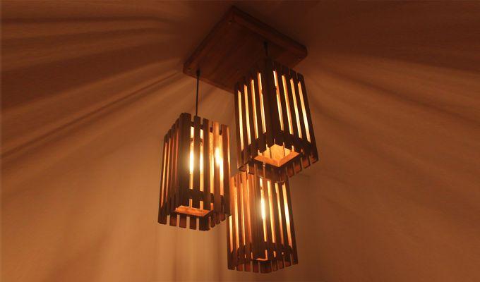 Elegant Brown Wooden Cluster Hanging Lamp-6