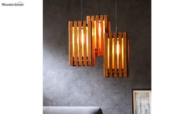 Elegant Brown Wooden Cluster Hanging Lamp-1