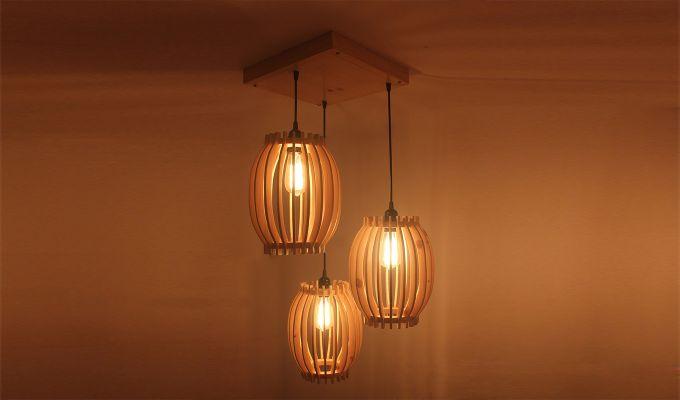Flora Beige Wooden Cluster Hanging Lamp-1