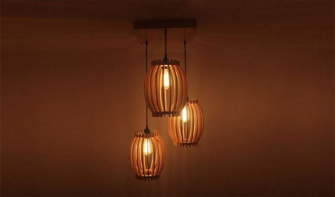 Flora Beige Wooden Cluster Hanging Lamp-2
