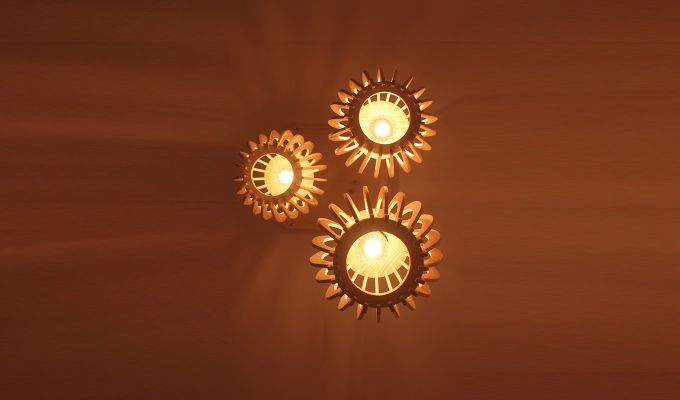 Flora Beige Wooden Cluster Hanging Lamp-3