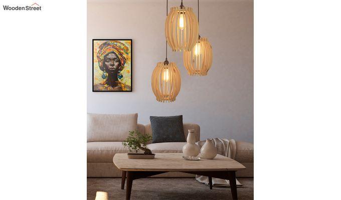 Flora Beige Wooden Cluster Hanging Lamp-4