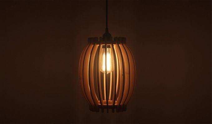 Flora Beige Wooden Hanging Lamp-2