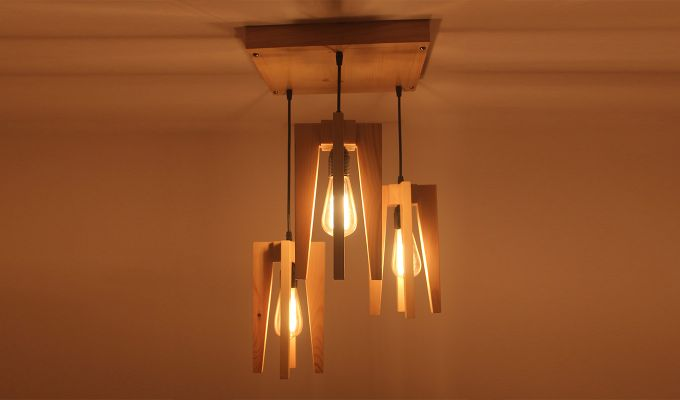 Jet Beige Wooden Cluster Hanging Lamp-2