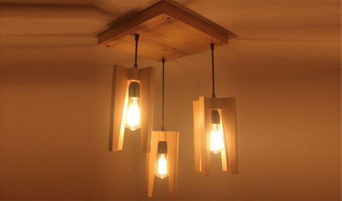 Jet Beige Wooden Cluster Hanging Lamp-3