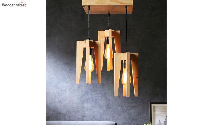 Jet Beige Wooden Cluster Hanging Lamp-1