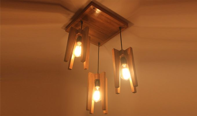 Jet Brown Wooden Cluster Hanging Lamp-3