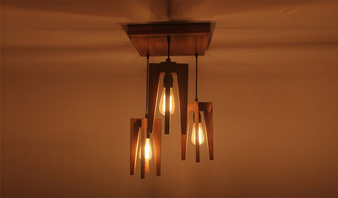 Jet Brown Wooden Cluster Hanging Lamp-2