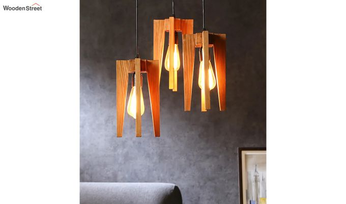 Jet Brown Wooden Cluster Hanging Lamp-1