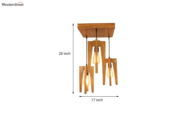 Jet Brown Wooden Cluster Hanging Lamp-7