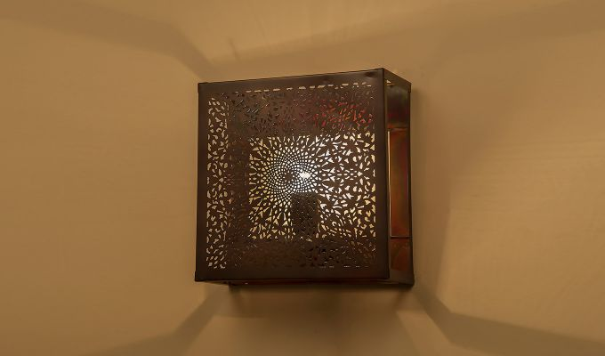 Oriental Copper Square Wall Light-1