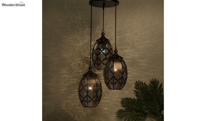 Oval Moroccan Round Antique Copper Hanging Light-1