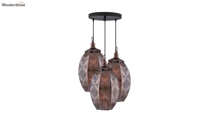 Oval Moroccan Round Antique Copper Hanging Light-2