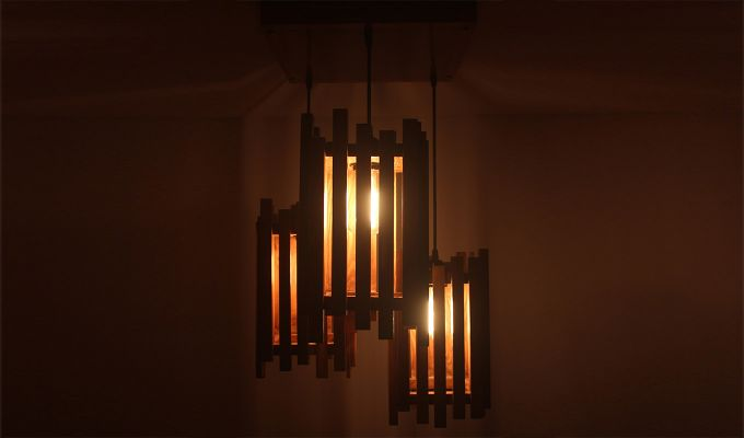 Palisade Brown Wooden Cluster Hanging Lamp-1
