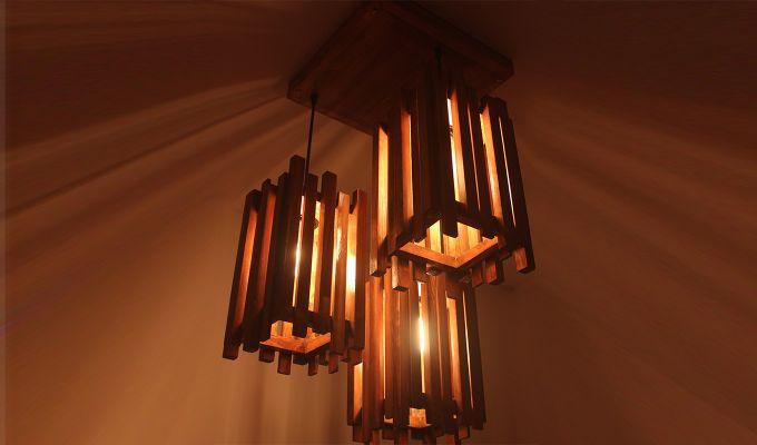 Palisade Brown Wooden Cluster Hanging Lamp-2