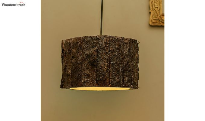 Rustic Wooden Log Hanging Light-1