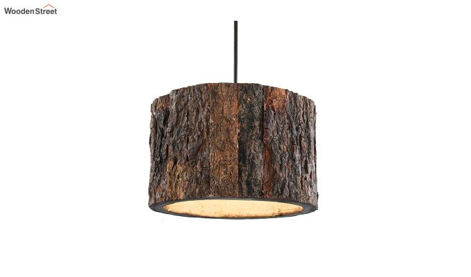 Rustic Wooden Log Hanging Light-2
