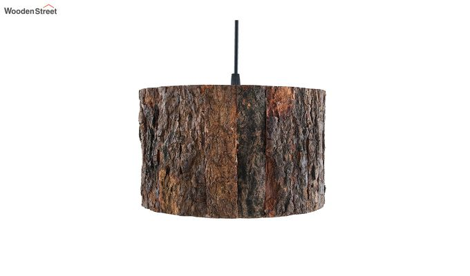 Rustic Wooden Log Hanging Light-3